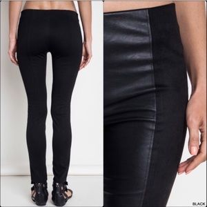 Pants - Black Two-toned Vegan Leather Leggings